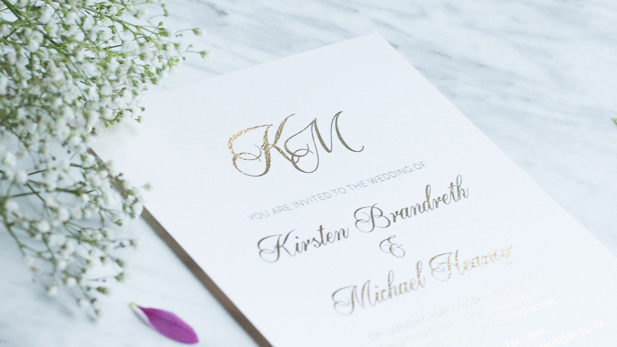 gold monogram invitation design